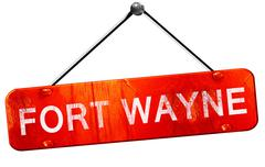 Fort wayne, 3D rendering, a red hanging sign Stock Illustration