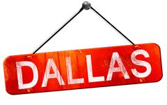 Dallas, 3D rendering, a red hanging sign Stock Illustration