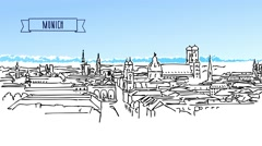 Munich Skyline with Alpes in Background Animation Stock Footage