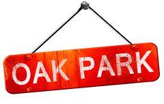 oak park, 3D rendering, a red hanging sign - stock illustration