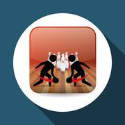 Bowling design. Sport icon. Flat illustration , vector - stock illustration
