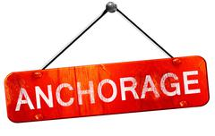 Anchorage, 3D rendering, a red hanging sign Stock Illustration