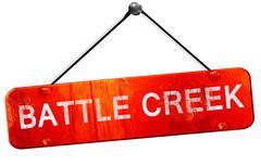 battle creek, 3D rendering, a red hanging sign - stock illustration