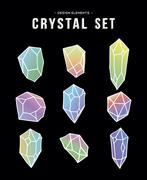 80s crystal set of colorful icons and symbols Stock Illustration