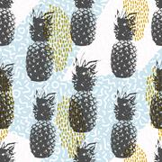 Retro 80s summer seamless pattern with pineapple Piirros