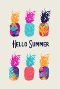 Hello summer color pineapple design in 80s style - stock illustration