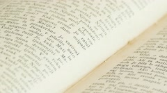 Old book rotating, close up Stock Footage