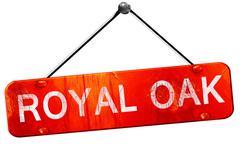 Royal oak, 3D rendering, a red hanging sign Stock Illustration