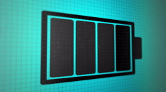 Charging battery icon black color on the light-blue pixel screen Stock Footage