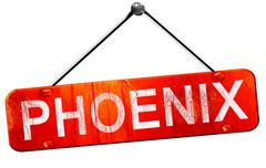 phoenix, 3D rendering, a red hanging sign - stock illustration