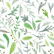 Watercolor Eco Pattern - stock illustration