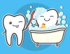 Tooth brushing toth in the bath. Stock Illustration