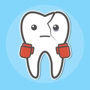 Tooth with a crack wear boxing gloves - stock illustration