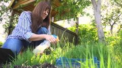 Work in the Garden Spraying Plant Hand Sprayer Stock Footage