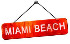 Miami beach, 3D rendering, a red hanging sign Stock Illustration