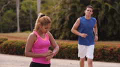 1-Young People Sports Training Fitness Fitwatch Steps Counter Stock Footage