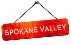 spokane valley, 3D rendering, a red hanging sign - stock illustration