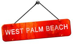 west palm beach, 3D rendering, a red hanging sign - stock illustration
