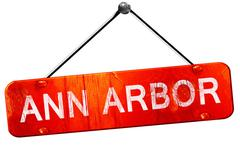 ann arbor, 3D rendering, a red hanging sign - stock illustration