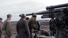 Group Of Artillery Crew Dismantling Old Howitzer Stock Footage