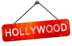 Hollywood, 3D rendering, a red hanging sign Stock Illustration