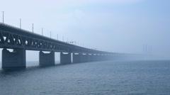Öresund Bridge between Copenhagen and Malmö, Sweden, Europe Stock Footage