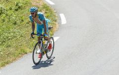 Col D'Aspin,France- July 15,2015:  The Cyclist Andriy Grivko - Tour de France - stock photo