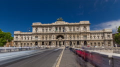 Rome, Italy. Palace of Justice timelapse hyperlapse - courthouse building with Stock Footage