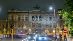 Rome, Italy. Palace of Justice night timelapse - courthouse building with Ponte Stock Footage