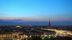 Turin city skyline at night panoramic view Stock Footage