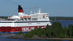 "Large sea ferry ""Viking Line"" leaves the port of Helsinki. - stock footage"