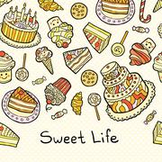 Sweet life card with cakes isolated on dotted background Stock Illustration
