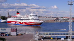 "Large sea ferry ""Viking Line"" leaves the port of Helsinki. Time lapse. - stock footage"