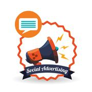 Social Advertising design. Media icon. White background , vector Stock Illustration