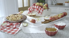 Apples on a kitchen worktop - stock footage