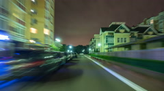 The walk along the embankment in the evening city. Time lapse (Hyperlapse) Stock Footage