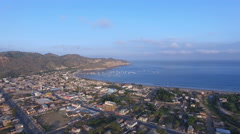 Flight to Harbor at Puerto Lopez, Ecuador Stock Footage