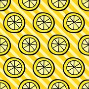 Seamless pattern with lemon on stripped background Stock Illustration
