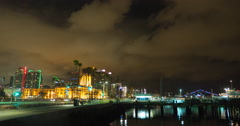 San Diego, CA Street Near the Ocean at Night : Time Lapse Stock Footage