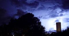 Several storm. Building, city, rainy day. Night, lightning - stock footage