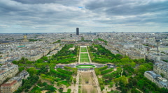 Champ de Mars from Eiffel Tower Stock Footage