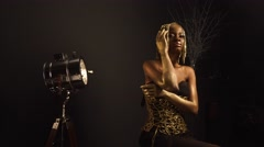 Creative luxurious portrait of sexy african american female model with glossy Stock Footage