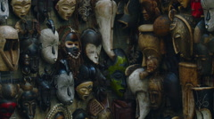 Cape Town - South Africa - Native African Masks Stock Footage