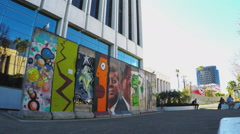 Public Art Mural On Wilshire Boulevard- Los Angeles California Stock Footage