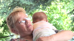 Grandmother and a grandchild 01 - stock footage