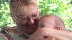 Grandmother and a grandchild 03 - stock footage