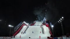 Mogul skiing World Cup in Moscow Russia. Opening of competition with fireworks - stock footage