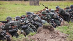 Historical reconstruction of the Second World War. German soldiers in the Stock Footage