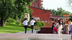 Changing guards in Alexander's Garden near eternal flame in Moscow, Russia Stock Footage