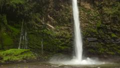Condor Machay Waterfall, Ecuador. Time-lapse Stock Footage